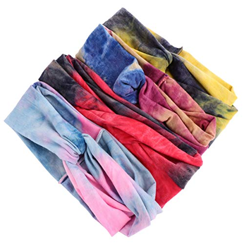 FRCOLOR 4 Pcs Tie Dye Bandeaux Coton Stretch Élastique Yoga Bandeau Boho Chapeaux Sport Bandana Headwrap Accessoires pour Femmes