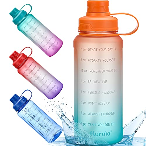 32 oz Motivational Water Bottle with Time Marker Reminder...