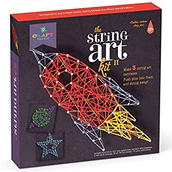 Craft-tastic DIY String Art – Craft Kit for Kids – Everything Included for 3 Fun Arts & Crafts Projects – Space Series Features a Rocket Ship Planet and Star Patterns