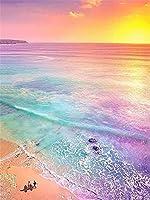 DIY 数字油絵 カラフルな夕日の海景 数字塗り絵 大人の子供のためのギフト デジタル油絵 数字キットでペイント ホーム オフィス装飾 30x40cm フレームレス