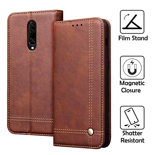 REAL-EAGLE Oneplus 7 Pro Case, Oneplus 7 Pro Wallet Case,Oneplus 7 Pro Premium PU Leather Wallet Protection Case with [Kickstand] [Card Slots] [Magnetic Closure] for Oneplus 7 Pro 2019 (Brown 7Pro)