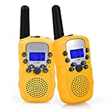 Flybiz Walkie Talkie Niños PMR446 8 Canales LCD Pantalla Función VOX 10 Tonos de Llamada Bloqueo de Canal Linterna Incorporado 8 Canales LCD Pantalla VOX (Amarillo)