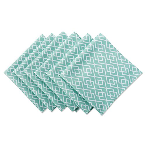 "DII Cloth Napkins for Everyday Place Settings, Family Gatherings, BBQ's, Holiday Parties, & Catering Events, Oversized & Stain Resistant for Indoor/Outdoor Use (20x20"" - Set of 6) Aqua Diamond"