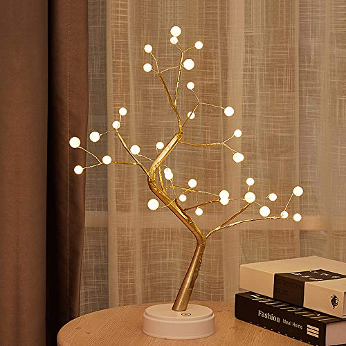 GUOCHENG Novelty Pearl Copper String Tree Lamp LED Battery&USB Decorative Table Night Light 19.69 inch with 36 Warm White Pearls Fairy Lights Decor for Valentine's Day Party Wedding Bedroom(Pearl)