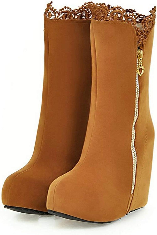 Women Large Size Wedge High Heels Platform Zip Up shoes Mid Calf Boots Winter Outdoor