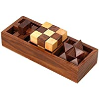 Artncraft 3-in-One Wooden 3D Puzzle Games Set for Teens and Adults