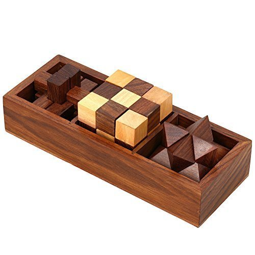 Shalinindia 3-In-One Wooden Puzzle Games Set - 3D Puzzles