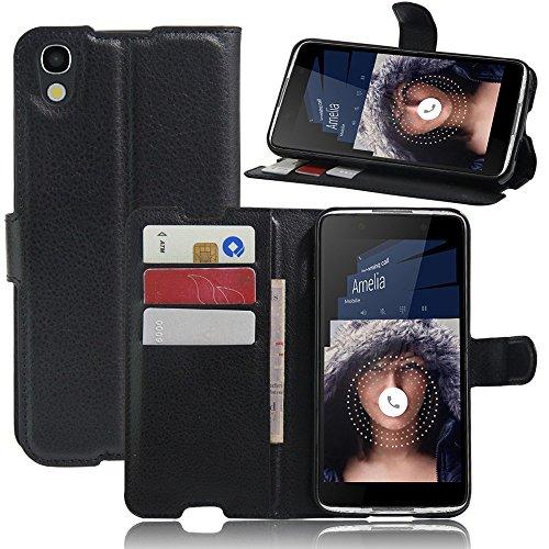 Tasche für Alcatel Idol 4 (5.2 zoll) Hülle, Ycloud PU Ledertasche Flip Cover Wallet Case Handyhülle mit Stand Function Credit Card Slots Bookstyle Purse Design schwarz