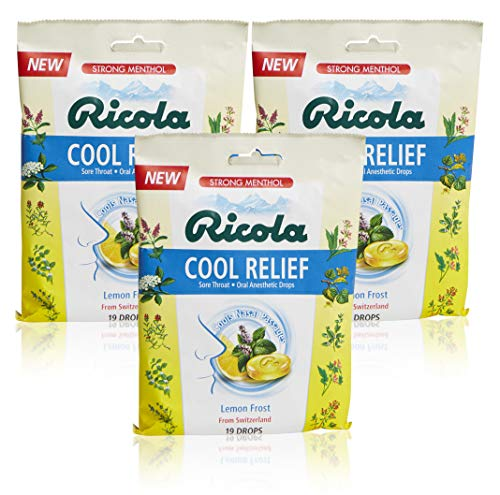 ricola sore throat reliefs Ricola Cool Relief Lemon Frost Herbal Cough Suppressant Throat Drops, 19ct Bag (Pack of 3)