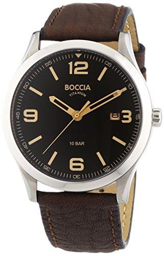 Boccia Herren-Armbanduhr XL Analog Quarz Leder, Schwarz/Braun, 3624-01