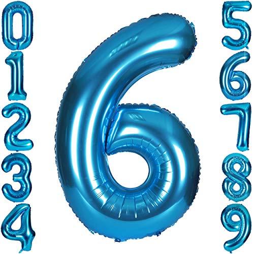 CHANGZHONG 40 Zoll 0 to 9 in Blau Nummer Folienballon Helium Zahlenballon Luftballon Riesenzahl Party Hochzeit Kindergeburtstag Geburtstag Nummer 6