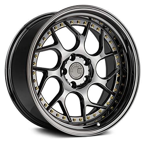 AodHan Wheels Rim DS-01 19x10.5 5x120 72.6CB +25 Black Vacuum w/ Gold Rivets