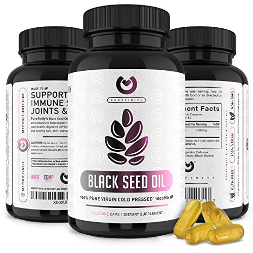 Black Seed Oil - Black Cumin Seed Oil Supplement for Healthy Joint, Skin & Hair, Immune Support & Anti-Inflammatory. Cold Pressed, Extra Virgin, Nigella Sativa Liquid Capsules – 120ct.