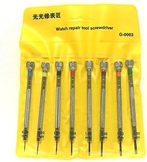 腕時計 用 マイナス 精密 ドライバー セット 時計 修理 模型 機器 組立 工具 小さな ネジ 細かい 作業 (8本セット)