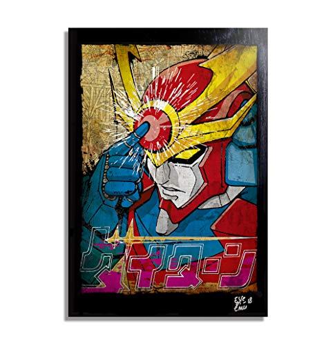 Arthole.it L' Invincibile Daitarn 3 (Y. Tomino - K. Okawara) - Quadro Pop-Art Originale con Cornice, Dipinto, Stampa su Tela, Poster, Locandina, Mecha, Super Robot
