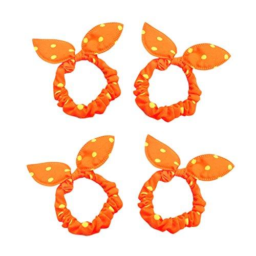 Oreilles de lapin mignon élastique de cheveux Cravates, 10 Count, Orange