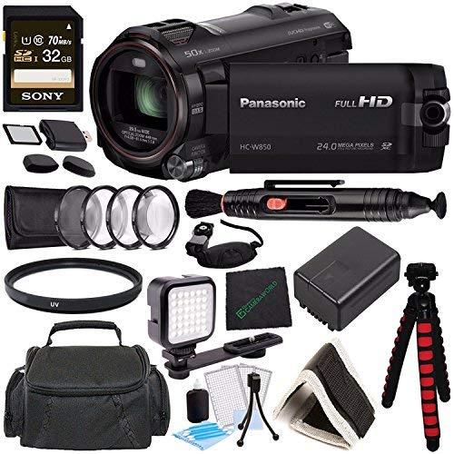 Panasonic HC-W850 Twin Camera Full HD Camcorder MFR # HC-W850K + Sony 32GB SDHC Card + Spacious Carrying Case + SD/microSD Memory Card Reader + Memory Card Wallet + Tripod + Cleaning Cloth Bundle -  GreensCameraWorld, HC-W850K-030117-4