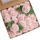 Roqueen 25 Pezzi Fiori Rosa Artificiali Rose Schiuma Finte con Steli per DIY Nozze Nuziale...