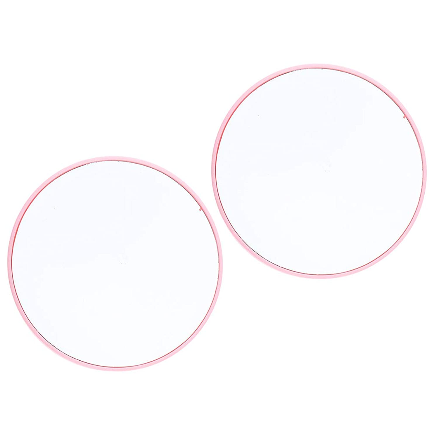 城スペイン溝2個 10倍 拡大ミラー サクションメイクミラー 吸引カップ 化粧鏡 3色選べ - ピンク