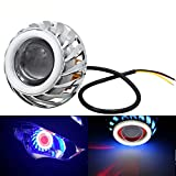 shunyang Halo Motorcycle Headlight Hi/Low Beam LED Projector Headlight For Motorcycle Angel Eyes Devil Eyes Halo (Blue)