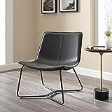 Walker Edison Faux Leather Lounge Accent Chair, Black