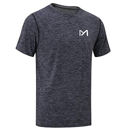 MEETYOO Sportshirt Herren, Laufshirt Kurzarm T Shirts Männer Fitnessshirt Atmungsaktiv Funktionsshirt für Running Jogging Fitness Gym (Schwarz, L)
