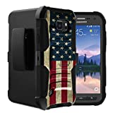 Untouchble Compatible with Samsung Galaxy S6 Active Case | S6 Active Holster Case [Heavy Duty]- Shockproof Swivel Holster Case with Built in Kickstand - Vintage America Flag