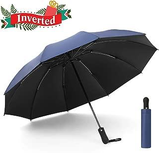 UOWGA Inverted Rain Umbrella, 10 Ribs Auto Open and Close Reverse Travel Windproof Umbrella with UV Protection for Men/Women
