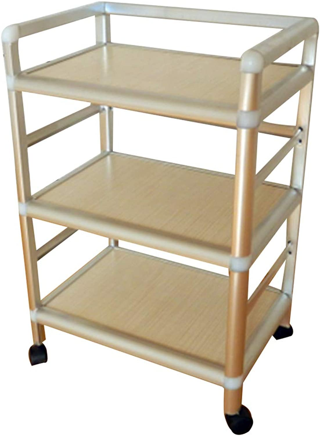Serving Trolley Cart Kitchen Mobile Stainless Steel Solid Wood Organizer Universal Wheel 3 Tier Storage, Carrying Capacity 40 Kg, 2 Sizes (color   A-43 x 30 x 65CM)