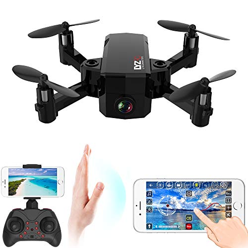 Mini Drone Pieghevole,videocamera Wi-Fi FPV HD con Follower per Ritratto,Controllo del Palmo sensibile alla gravità,atterraggio con Un Solo Pulsante per Principianti per Bambini,Black