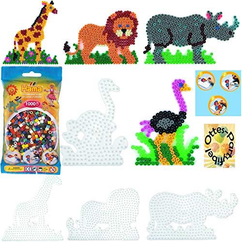 HAMA Bügelperlen-Bastel-Set midi-Stift-Platten-Set midi Giraffe + Nashorn + Strauß + Löwe + Bügelperlen #10