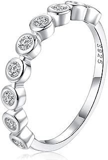 Bezel Set Round CZ Wedding Band Half Eternity Stacking Ring