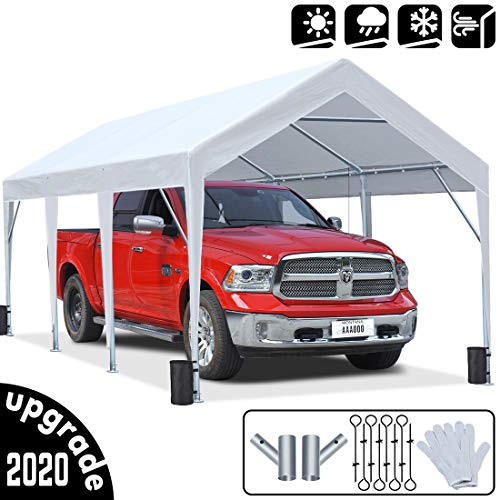 KING BIRD 10 x 20 ft Upgraded Heavy Duty Carport Car Canopy Portable Garage Tent Boat Shelter with...
