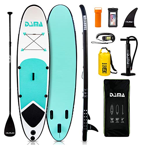 DAMA Youth 10' Paddle Board Inflatable sup, isup, Youth Board, Premium Board Accessories, Floating Paddle, Lightweight Lady sup Board, Waterproof Bag, All Round Board Green