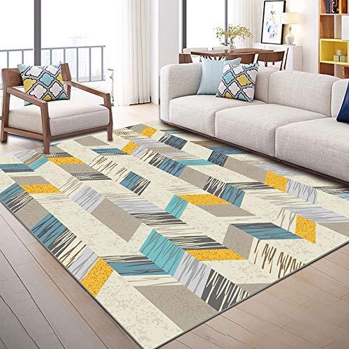 LOUUG Salón dormitorio minimalista alfombra antideslizante Mat Milán ocre amarillo mostaza gris beige diamante del azulejo del modelo geométrico tradicional duradero Alfombras con estilo de la decorac