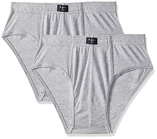 Pepe Jeans Innerwear Men's Solid Brief (Pack of 2) (CLB01-02_Grey Melange_Grey Melange-90-95)