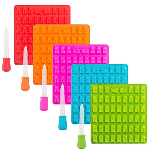 Tebery Silikon 265Pcs Gummibärchen-Formen mit Pipetten - Set aus 5 Gummibären-Formen und 5 Pipetten ohne BPA