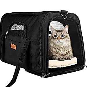 CLEEBOURG Pet Carrier Cat Carriers, Airline Approved Travel Pet Bag, Collapsible Soft-Sided Dog Kennel with Reflective Side Strip, Mesh Window and Escape-Proof Buckle, Best for Small Medium Cats Dogs
