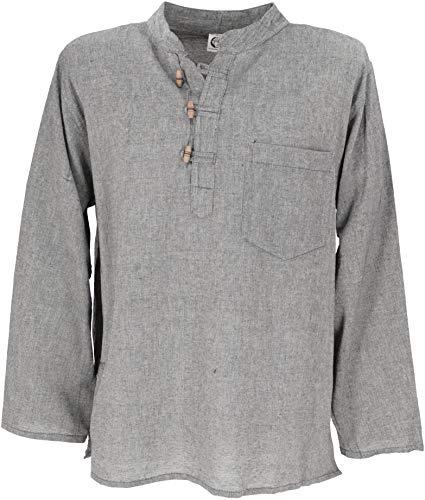 GURU SHOP Nepal Fischerhemd, Goa Hippie Hemd, Yogahemd, Freizeithemd, Herren, Grau, Baumwolle, Size:XL, Hemden Alternative Bekleidung