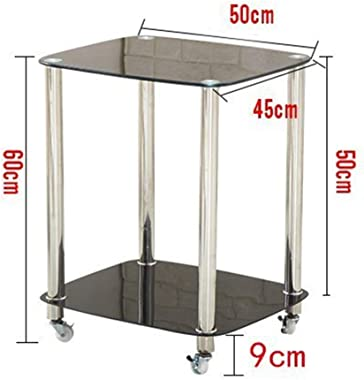 Kitchen Bar Dining Serving Carts Tea Drink Trolley, Utility Storage Rolling Cart Mobile Trolley Stainless Steel Frame Tempered Glass