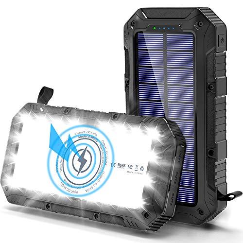 Solar Powerbank 26800mAh, Wireless Solar Ladegerät Outdoor mit 4 Ausgängen und Qi-Zertifiziert, QI Powerbank mit 28LED 5V 2A USB-Ports Externer Akku für Handy Tablet Smartphone, Alle USB-Geräte