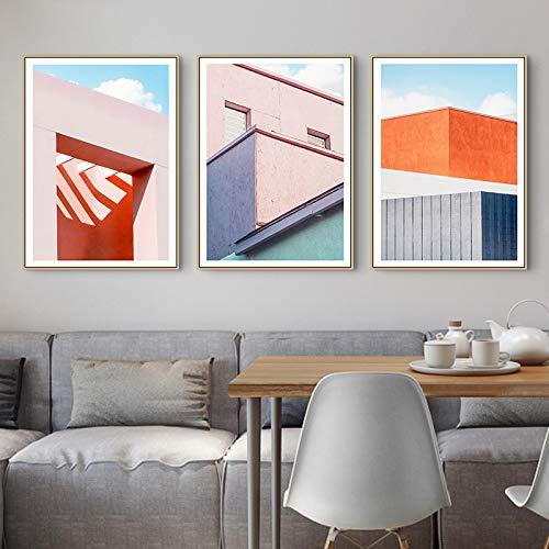 Bloques de colores de construcción geométricos pintura cuadro de arte de la pared arte de la sala de estar póster decoración cuadro minimalista impresión de morden 40x60cmx3 Noframe