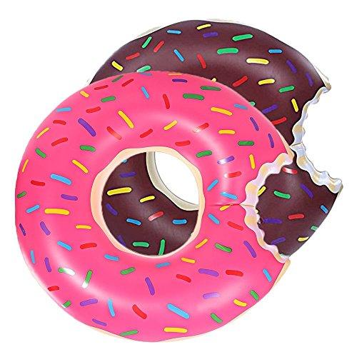 Anillo de Natación For Niños, 2 Pcs Verano Anillo Hinchable Donuts Diseño Estilo Natación Anillos 60cm Pool Fun Float Juguetes Inflables para Niños Inflable de La Piscina y Mar Baño Juguetes