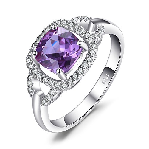JewelryPalace Fashion 2.5ct Erstellt Alexandrit Sapphire Halo Ring 925 Sterling Silber