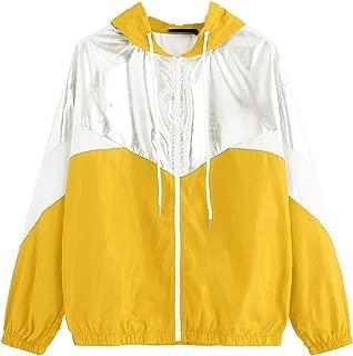Women's Colorblock Long Sleeve Loose Zip Up Drawstring Windbreaker Hoodie Jacket