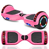 """cho New Hoverboard Electric Smart Self Balancing Scooter with Built-in Wireless Speaker 6.5"""" LED Wheels and Side Lights Safety Certified (Solid Pink)"""