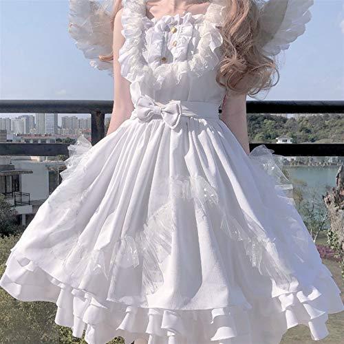 Yuncheng Vestido de la Magdalena Lolita Vestido Japonés Sweet Blanco Ángel JSK Lolita Vestido Vintage Kawaii Girls Gothic Star Lace Fairy Boda Vestido Cosplay Princess Vestidos