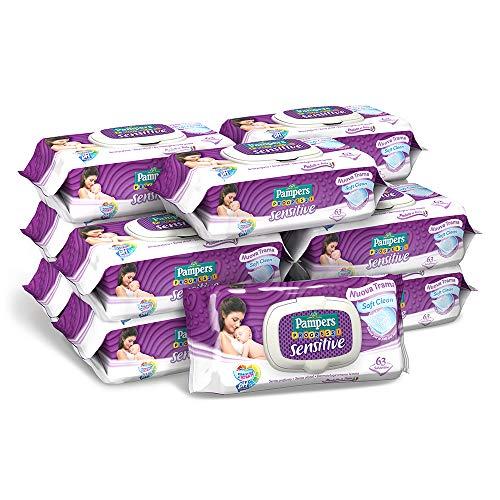 Pampers Sensitive Salviettine, Formula Delicata Senza Profumazione, Ripristina il Ph della Pelle, 12 Confezioni da 63 Pezzi, 756 Salviettine