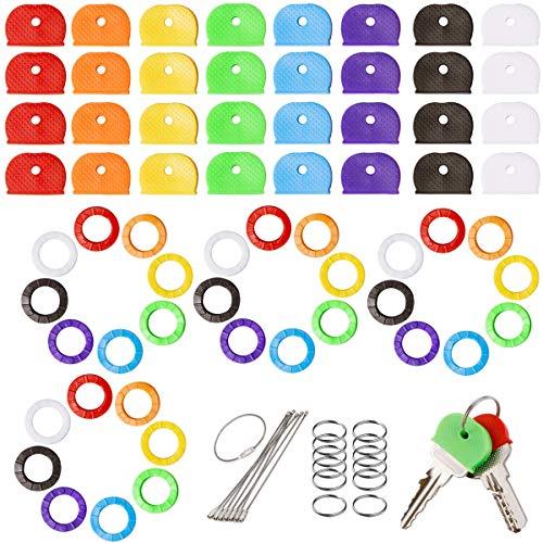 QAQGEAR Kit de Etiquetas de Color para Cubiertas de Llaves para Llaves de casa, Adornos de plástico para Llaves para organización de Llaves, 8 Colores, 2 Estilos (64 Piezas), con llaveros