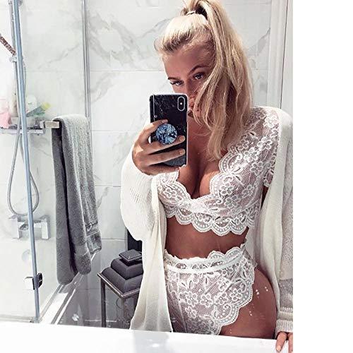 FPBY Conjuntos De Lencería Conjunto De Lencería Sexy con Costura De Ganchillo De Encaje Sexy Sexy-White_M